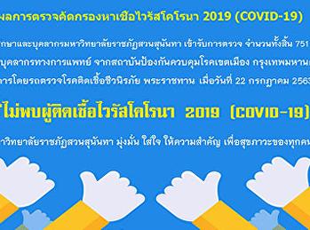 ผลการตรวจคัดกรองหาเชื้อไวรัสโคโรนา 2019 (COVID-19) นักศึกษาและบุคลากรมหาวิทยาลัยราชภัฏสวนสุนันทา